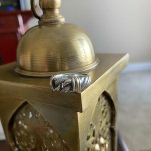 DAVID YURMAN diamond Sterling/18k gold cable ring